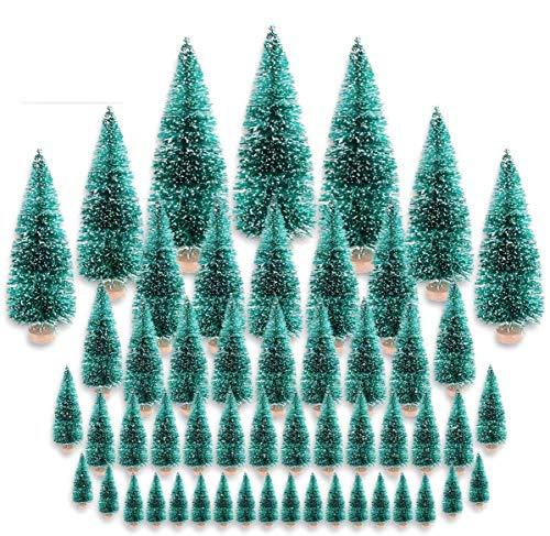 CODIRATO 48 Stück Kleiner Weihnachtsbaum Tischdeko Tannenbaum Spritzguss Künstlicher Mini Christbaum mit Schnee EffektMiniatur Grün Schneetannen 3,5/4,5/6,5/8,5/12,5/16cm für Weihnachten Deko