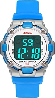 Kids Digital Watches for Boys Girls,7Colors Led Light Outdoor Sports Waterproof Multi Function Wristwatch with Alarm/Timer/Dual Time Zone,Dial Strap Detachable Fun Children's Watch