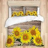 KENADVI Bettwäsche-Set aus gewaschener Baumwolle,Decke Retro-Holzbrett Sonnenblumen,3-teiliges Luxus-Bettwäsche-Set Doppelgröße