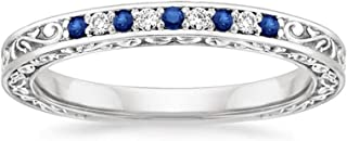 1.3MM Blue Sapphire & 0.05 Ct Real Diamond 10k White Gold Antique Scroll Wedding Band