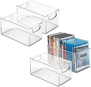 mDesign Zestaw 4 pudełek – Przechowywanie płyt CD – Długie otwarte plastikowe opakowania na płyty CD – Pudełka na płyty C...