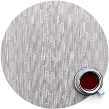 YURASIKU Round Placemats, Silver Bamboo Pattern Woven Vinyl Heat-Resistant Place Mats PVC Non-Slip Table Mat, Set of 8
