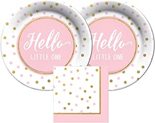 CR Gibson Hello Little One by Carters Paper Plates and Napkins, Bundle- 3 Items (Pastel Pink)
