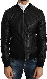 Black Perforated Leather Bomber Jacket