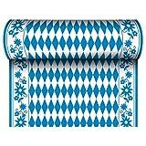 Papstar 24 m x 40 cm Tischläufer  Stoffähnlich, Airlaid Bayrisch Blau auf Rolle, Tischdecke Raute...