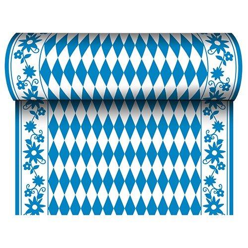Papstar 24 m x 40 cm Tischläufer  Stoffähnlich, Airlaid Bayrisch Blau auf Rolle, Tischdecke Raute Oktoberfest