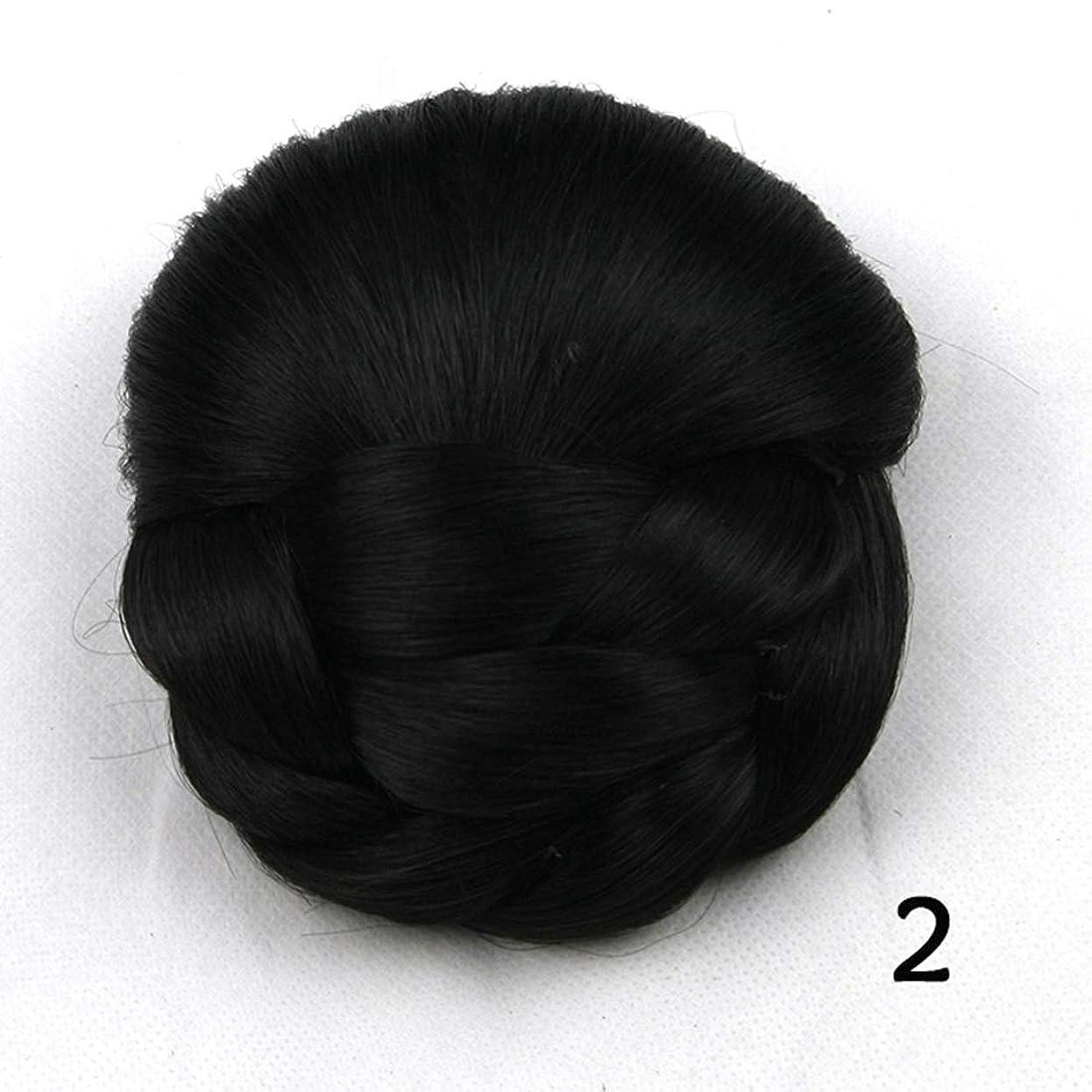 価格モデレータ管理するJIANFU レディースヘアブンフラワーヘッドピースドーナツポニーテール (Color : Color 2)