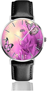 Purple-Flowers Butterflies Wide Men's Watches Fashion Simple Watches Ultra Thin Wristwatches Waterproof Quartz Women Watches Chronograph Watch 38mm/1.5