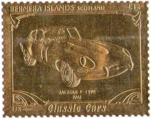 Isole Bernera Scotland : Veicoli d'epoca - Jaguar E Type 1961 / foglia oro bollo/perforato Valore nominale £ 12/1987 / Bernera/MNH