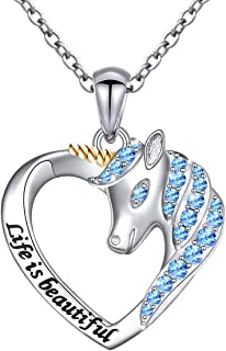 Sterling Silver Forever Love Unicorn in Heart Pendant Necklace for Women, Rolo Chain 18 Inches