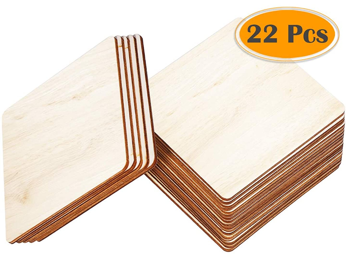 Selizo 22Pcs 4 Inch Unfinished Blank Wood Pieces Wooden Slices Unfinished Wood Cutouts for Wood Burning Carbon Transfer Paper Project Wood Painting Carving