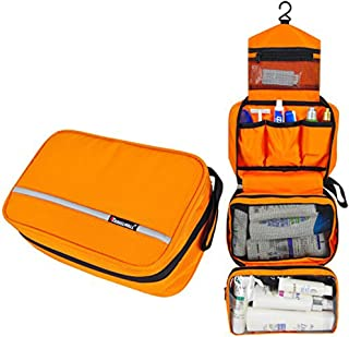 Relavel Cosmetic Pouch Toiletry Bags Travel Business Handbag Waterproof Compact Hanging Personal Care Hygiene Purse (Orange)