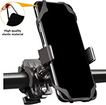 Bike Mount Phone Holder, Universal Adjustable Bicycle Motorcycle MTB Phone Holder, Compatible with iPhone Xs Max XR X 8 7 6 5 Plus Samsung Galaxy S9 S8 S7 S6 S5 Note 9 8 7 6 Black