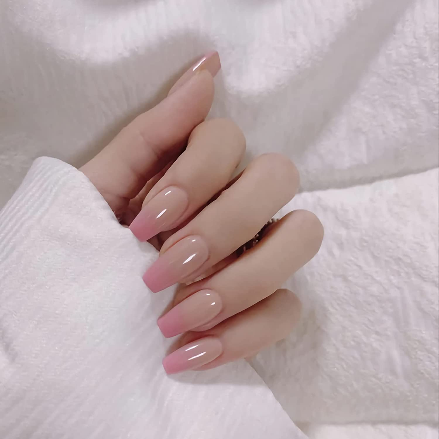 IMSOHOT Recommendation Press on Nails Gradient Ba Glossy Pink Large discharge sale Fake Coffin