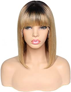 Lace Front Hair Wigs With Bangs For Black Women Ombre Straight Short Bob Wigs Betterluse Hair Wigs