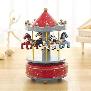 SWECOMZE - Reloj de música con mecanismo de tiovivo (reproduce música para amigas, niños, Navidad)