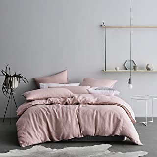 Eikei Washed Cotton Chambray Duvet Cover Solid Color Casual Modern Style Bedding Set Relaxed Soft Feel Natural Wrinkled Look (Queen, Rose Dust)