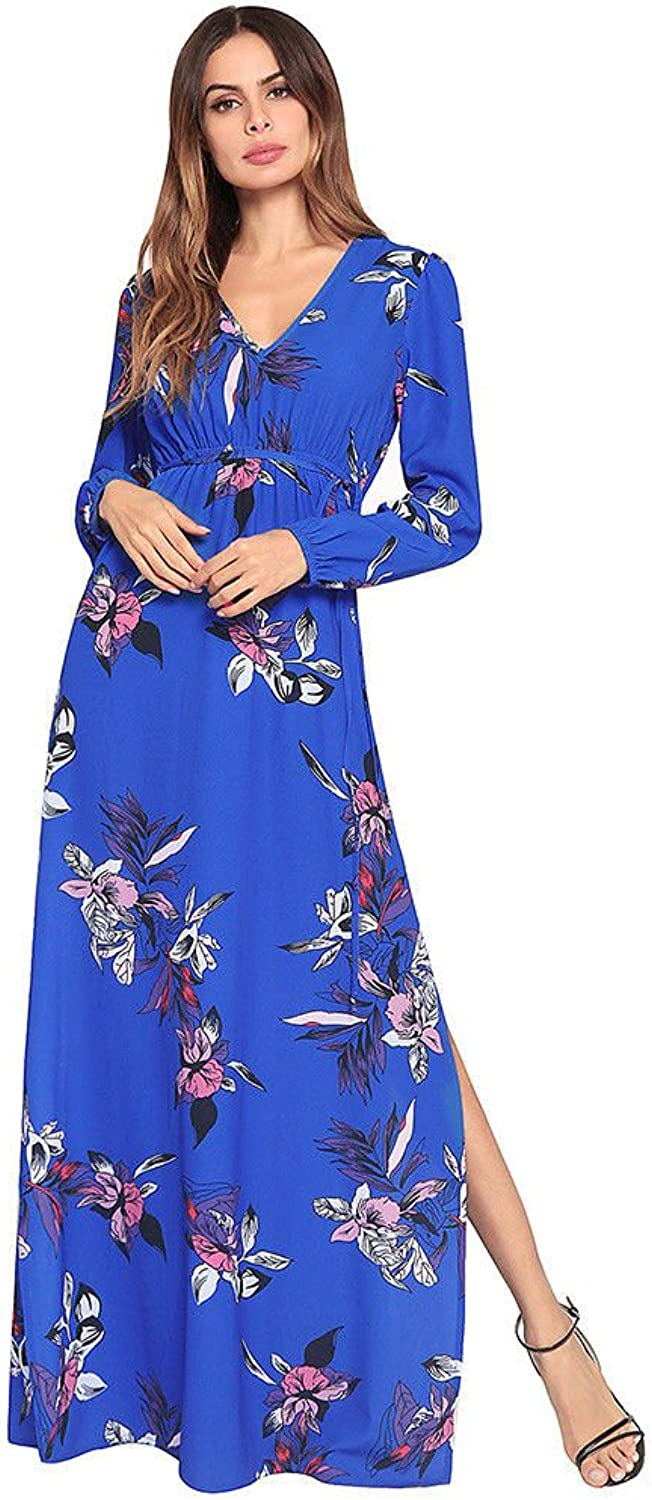NSSBZZ Beautiful Women New Summer Dress Long Sleeves High Waist Printed Dress Long Skirt bluee L