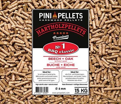 PINI Hartholz Pellets №1 BBQ Klassik 15 Kg Grillpellets zum Grillen Räuchern Smoken