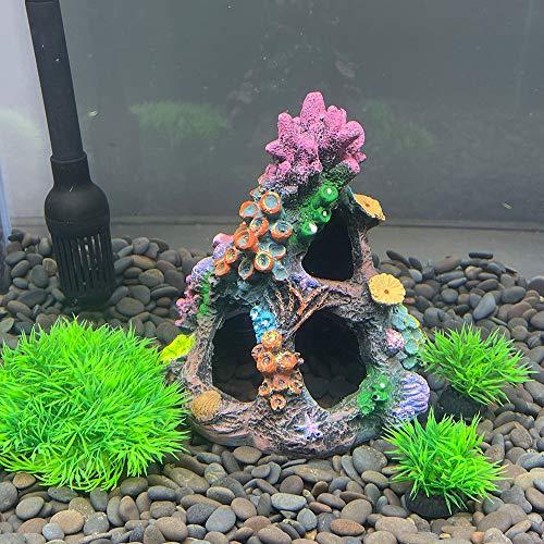 Smoothedo-Pets Fish Tank Decorations Aquarium Decoration S/M-Size Ornaments Accessories Fish Hides Artificial Coral Rockery Set (Artificial Coral Rockery-B Set)