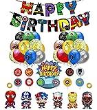 smileh Decoracion Cumpleaños Superhéroes Globos Vengadores Feliz Cumpleaños del Pancarta Adornos de Pastel Globos de Aluminio para Niños Decoraciones de Fiesta Marvel Cumpleaños