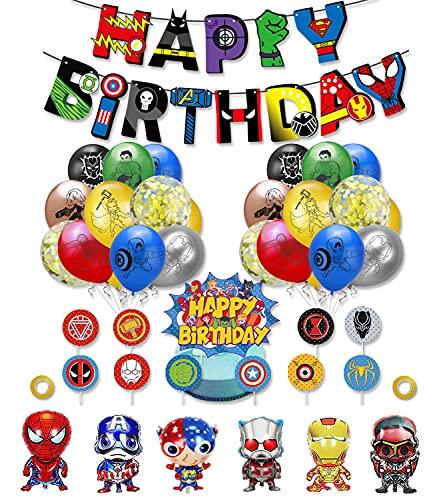 smileh Decorazioni di Compleanno Supereroi Palloncini Avengers Striscioni di Buon Compleanno Decorazioni per Torta Compleanno Palloncini in Alluminio per Bambini Decorazione per Feste di Compleanno