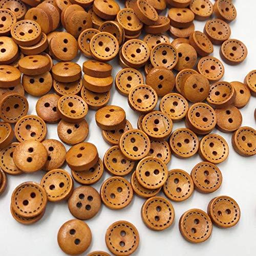 ZHANGAIGUO 50/100 Piezas Brown 2-Agujeros Botones De Madera Redondos, Costura Scrapbooking De 9 Mm De Corte Y Confección De Artesanía (Color : 50 pcs)
