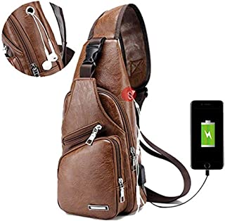Sling Bag, Crossbody Bag,Men Shoulder Chest Backpacks,Fashion Rucksack,Outdoor Travel Multipurpose Daypacks with USB Charging Port