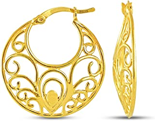 Charmsy Sterling Silver Jewelry Filigree Cut Hoop Earrings for Women Girl 26 MM