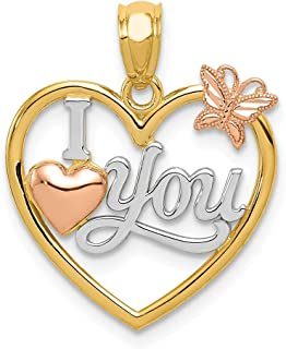 14k Two Tone Yellow Gold White Rhod I Love You Heart Butterfly Pendant Charm Necklace Fine Jewelry For Women