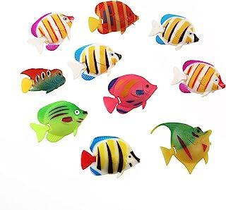 Winomo - 10 peces de decoración para acuario, movimiento artificial (patrones de colores aleatorios
