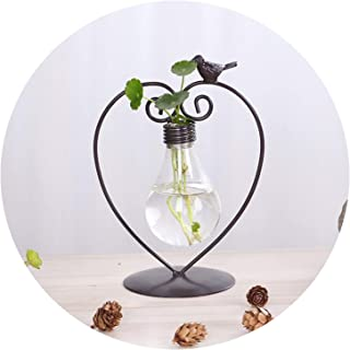 2 Types Modern Style Glass Tabletop Plant Bonsai Flower Christmas Decorative Vase with Metal Tray Home Decoration Accessories,Type A
