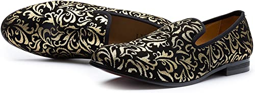 Herren Schuhe Schwarz Slipper Leder Herren Freizeit Schuhe Marke Bequem, Gold (Gold), 42 EU