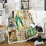 GEEMBI Blessed Virgin Mary, Our Lady Sofa Blanket PN727, Adult Sherpa Fleece Throw Blankets Bedding Blanket Reversible -Decorative Blanketed - Artwork Sherpa Blanket - Best Gift 2019