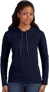 Anvil Ladies 100% Ring Spun Cotton Long Sleeve Hooded T-Shirt. 887L