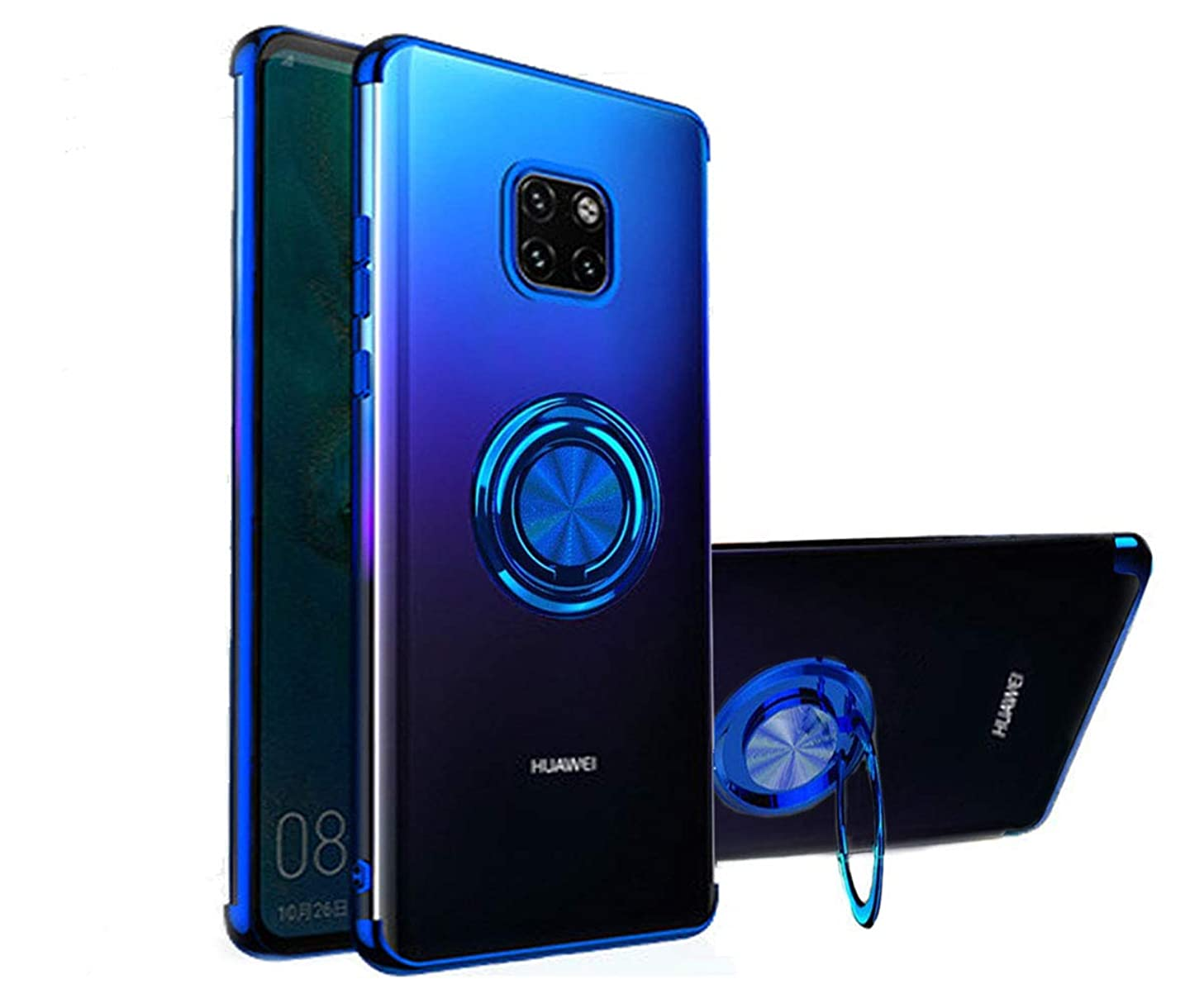 Huawei Mate 20 Pro Case, [360° Ring Stand ] Crystal Clear [Electroplated Metal Technology] Silicone Soft TPU [Shockproof Protection] Ultra Thin Cover for Huawei Mate 20 Pro (Blue, Mate 20 Pro)