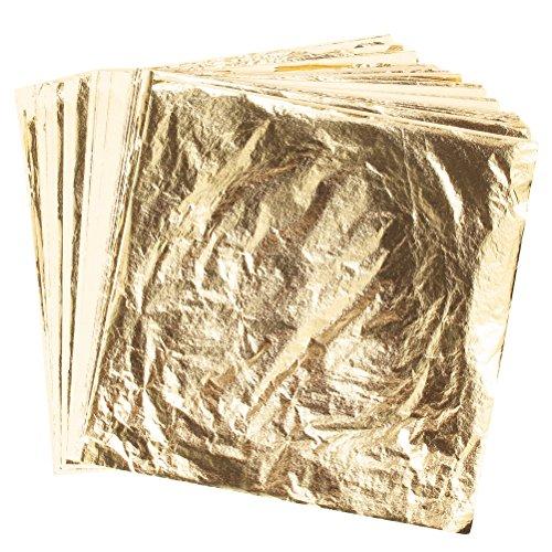 Ofoen Lot de 100 feuilles imitation feuilles d'or pour bricolage, travaux manuels de dorure, décoration, meubles, dimensions 14 par 14 cm