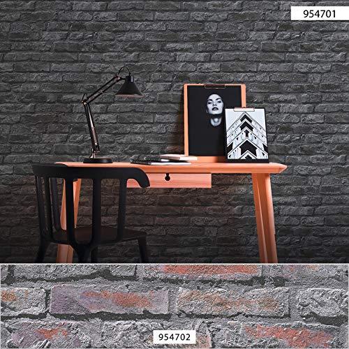 Steintapete grau anthrazit | Industrial-Tapete Steinoptik 95470-1 | Mauer-Tapete günstig 954701 | Stein-Tapeten für Küche, Flur & Wohnzimmer kaufen!
