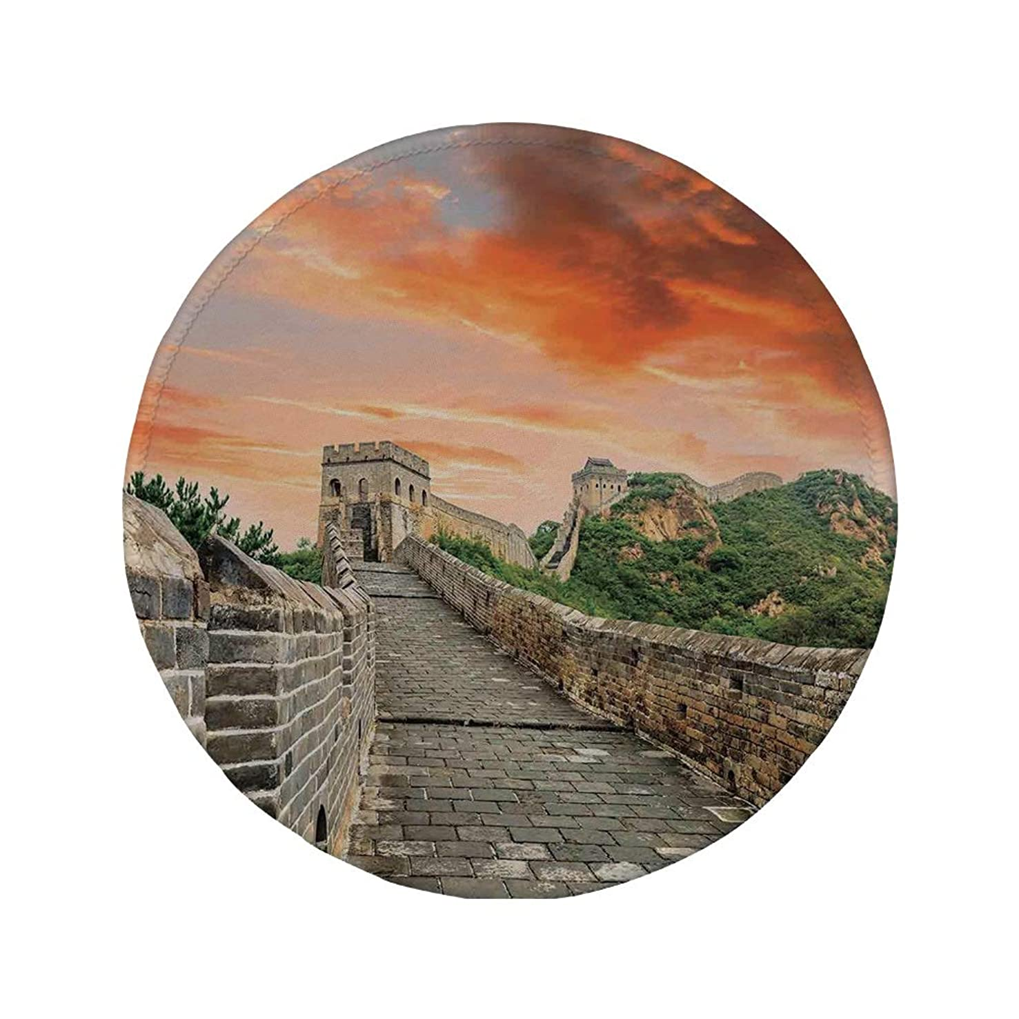 Non-Slip Rubber Round Mouse Pad,Great Wall of China,Hazy Scenic Sky Over Eastern Monument with Bricks Old Ruins Past Image,Grey Orange,11.8
