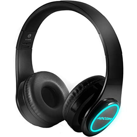 Adcom Luminosa - Wireless Bluetooth Over-Ear Stereo Headphone with Minimalist LED Lights, 15 Hours Battery Life, Passive Noise Cancellation, Built in Mic, and Equalizer Function (Black)