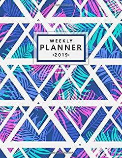 Weekly Planner 2019: Cute Tropical Palm Leaves Floral Daily, Weekly and Monthly 2019 Organizer. Nifty Pink Neon Yearly Agenda, Notebook and Journal.