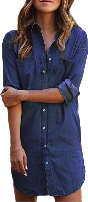Style Dome Mujer Blusa Camisa Vaquera Larga Mangas Largas Casual Elegante Oficina Azul-673742 S