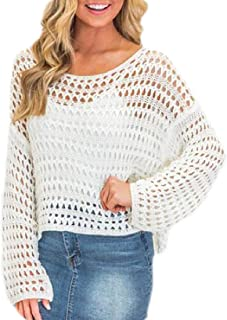 Women Crochet Hollow Out Long Sweater Long Sleeve Loose Top