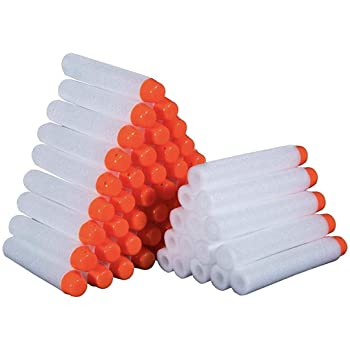 Toyshine 50 Pcs Foam Dart Refill Pack Bullets, Round Head, Assorted Color