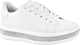 Fashion Thirsty Womens Ladies Chunky Platform Trainers Sneakers Diamante High Top Shoes Size New by Heelberry®