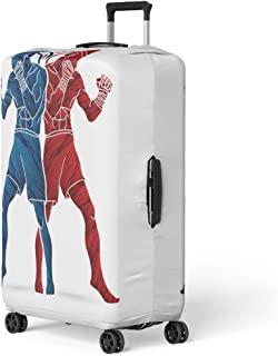 Semtomn Luggage Cover Blue Muay Thai Boxing Standing Action Designed Using Brush Travel Suitcase Cover Protector Baggage Case Fits 22-24 Inch