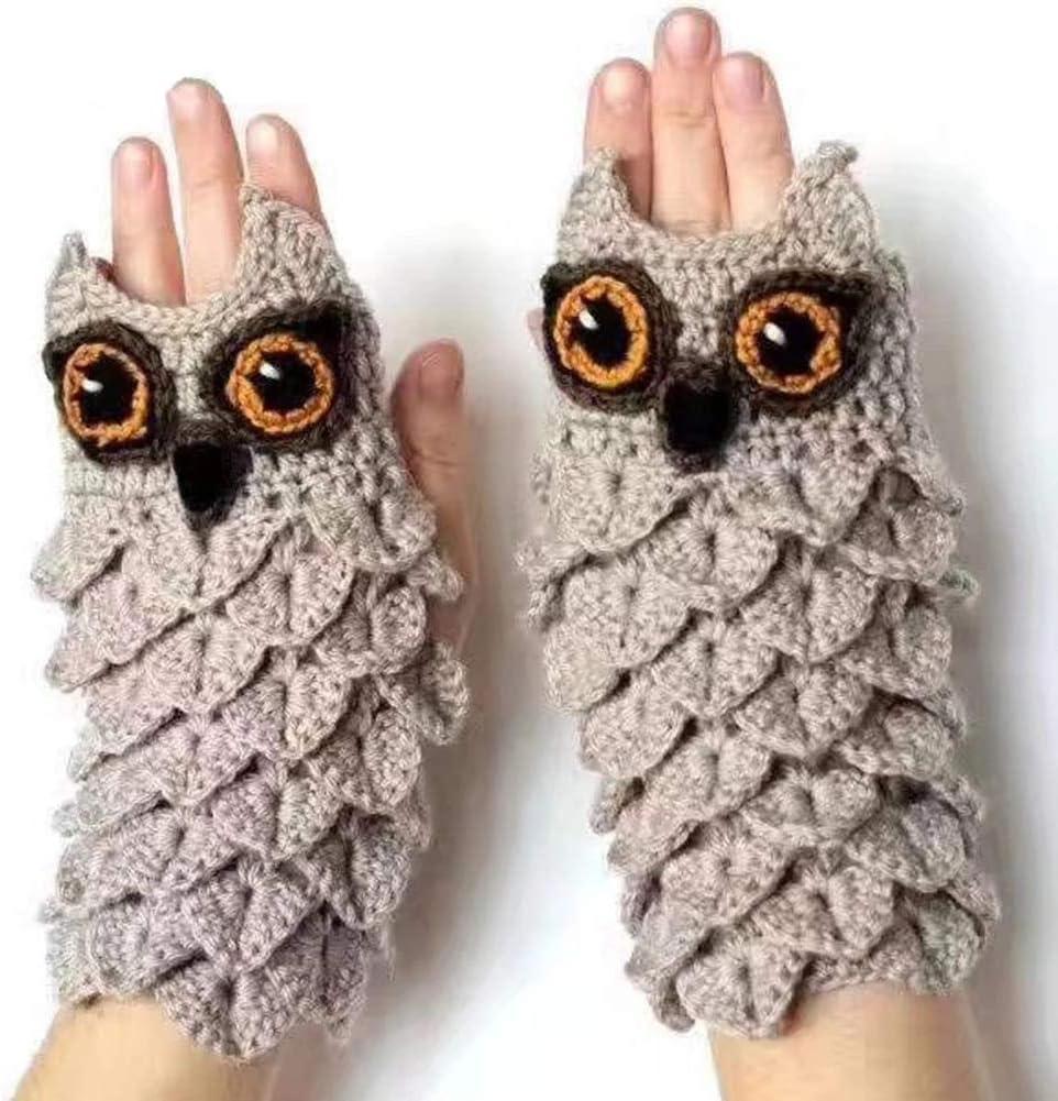 DFGHN Women's Knitted Gloves Cute Owl Eyes Half Gloves Autumn Warm Hand Gloves for Parents Kids Winter