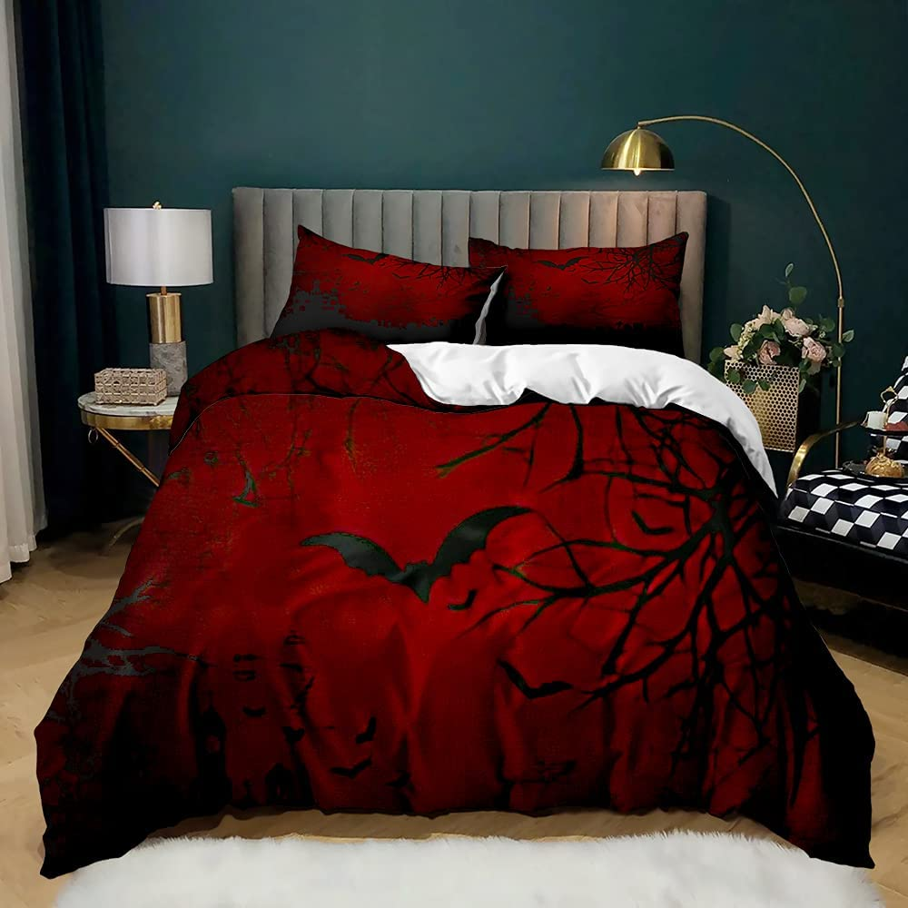 FRFFASHION Happy Halloween OFFicial site Duvet Cover Set Sky Sacramento Mall and Red H Haunted