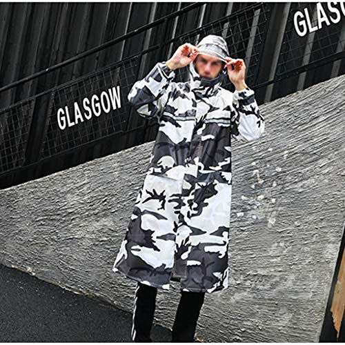Regenponcho Wasserdichter Regenschutz Multifunktionaler Kapuzenponcho Wiederverwendbarer Notfall Regenmantel Tragbarer Regenjacke Für Erwachsene ( Farbe : Off-white camouflage , Size : XXXL )