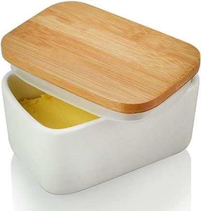 Butterdose, Butter Box, Buttergefäß, Butterdose mit Deckel, Butterschale für Küche und Haushalt, Butterbehälter platzsparend, Hochwertig Holzdeckel mit Silikon-Dichtlippe preisvergleich bei geschirr-verleih.eu